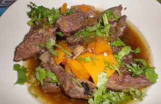 Рецепт Баранина с имбирем и перцем в вине