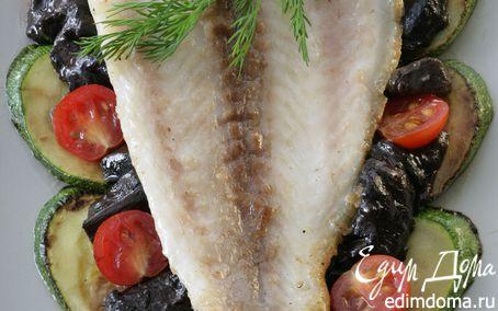 Рецепт Рыба с белыми грибами, мятой и кабачками