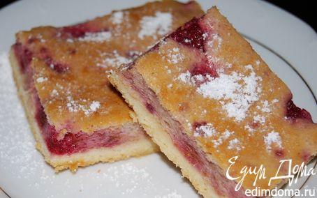 Рецепт Творожный пирог (с малиной и манкой)