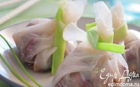 Рецепт Мешочки с курицей в сладком соусе с орехами