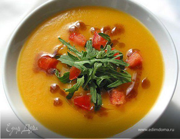 Тыквенный суп с помидорами и чесноком