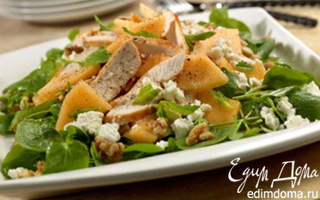Рецепт Куриный салат с дыней, сыром фета и зеленью