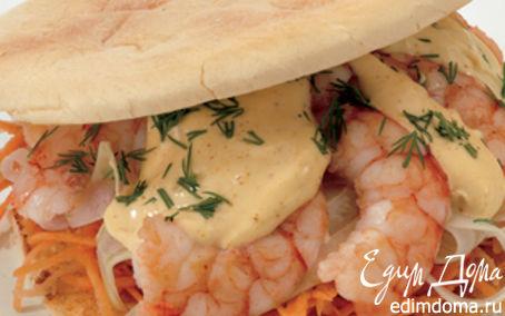 Рецепт Бутрик с креветками, морковью и карри майонезом
