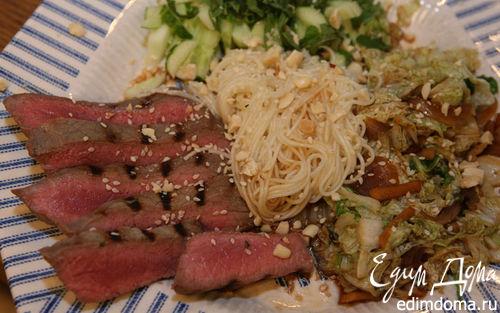 Рецепт Рисовая вермишель с маринованной говядиной