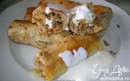 Рецепт Блинчики с начинкой из капусты и мяса