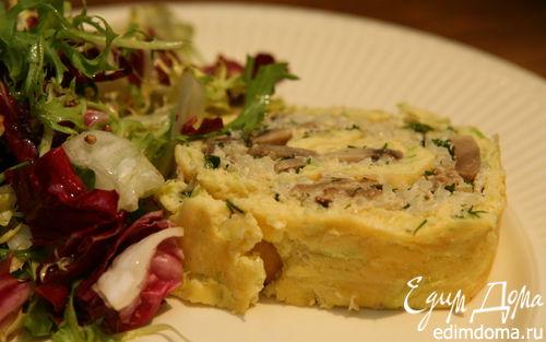 Рецепт Рулет с цукини, фаршированный рисом и грибами