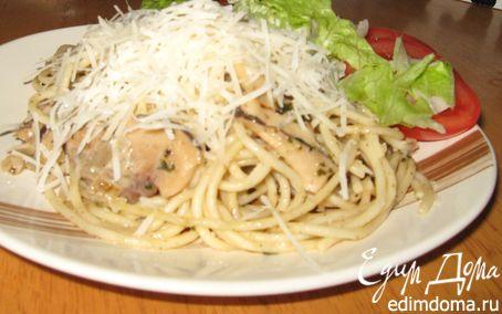 Рецепт Грин песто паста с грибами и пармезаном