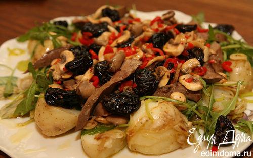 Рецепт Теплый салат из печени и молодого картофеля