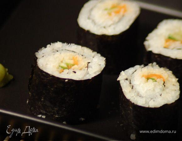 Роллы с маринованной морковью и огурцом