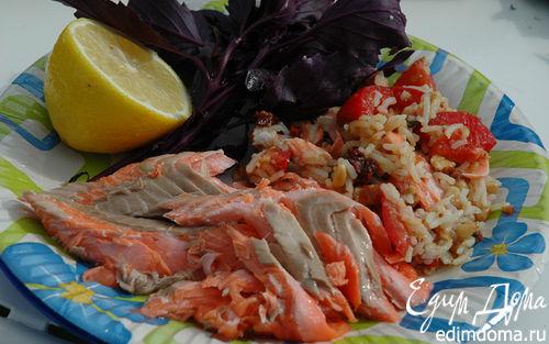 Рецепт Семга на гриле, фаршированная рисом