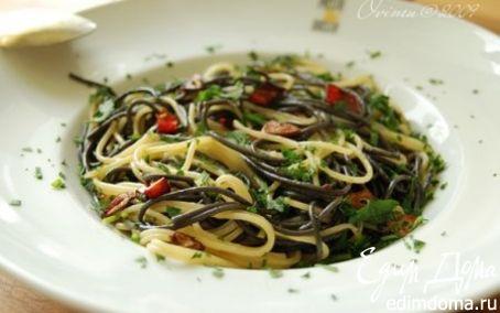Рецепт Спагетти с чесноком на остром масле
