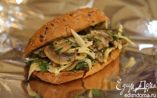 Рецепт Бутерброд-ссобойка с грибами и сыром