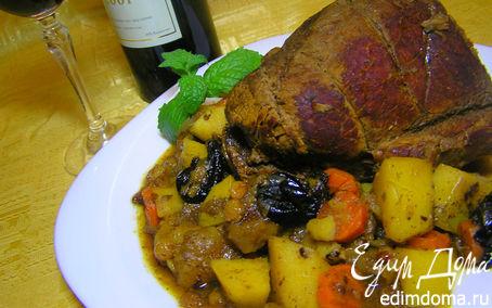 Рецепт Жаркое из говядины с овощами и сухофруктами