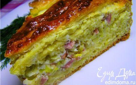 Рецепт Пирог с луком-пореем и ветчиной (флэмиш)