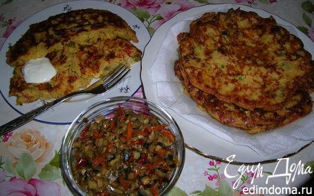 Рецепт Большие оладьи с капустой и сыром