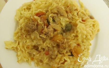 Рецепт Тальятелле с тунцом и каперсами в соусе из томатов