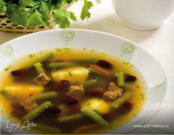 Суп с зеленой и красной фасолью