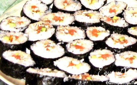 Рецепт Ролл с угрём и лососем