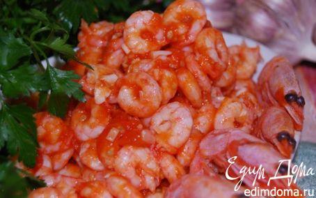 Рецепт Креветки с помидорами и чесноком