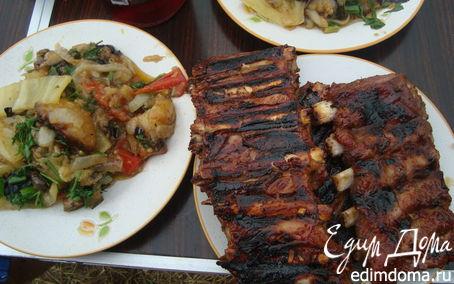 Рецепт Ребра свиные в медовом соусе на гриле