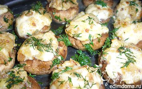 Рецепт Шампиньоны с сыром и зеленью