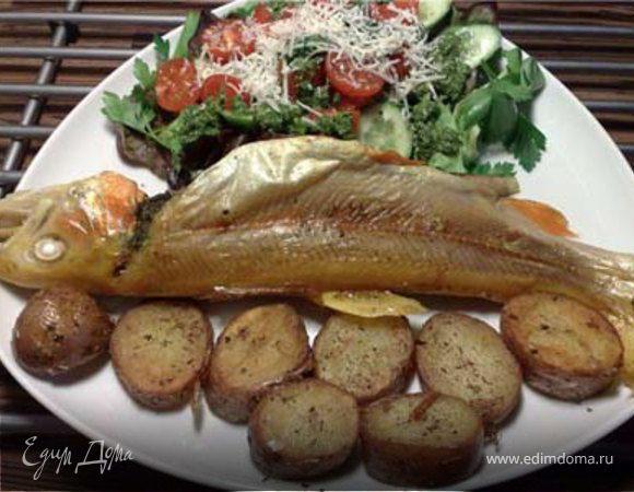 Рыба, запеченная с песто
