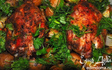 Рецепт Жаркое из цыплят с печеным картофелем. (Pollo Arrosto Con Patate Al Forno)