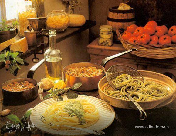 Спагетти с творогом и орехами