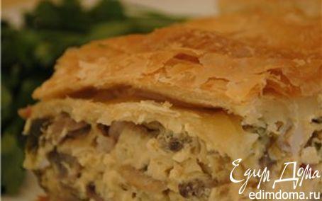 Рецепт Пирог по-деревенски с грибами, сыром и копченой грудинкой