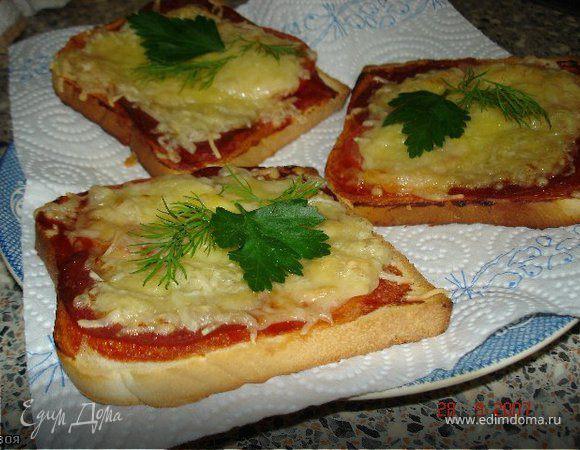 Горячие бутерброды с ветчиной,сыром и зеленью