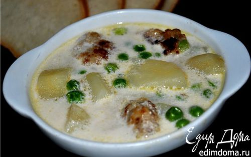 Рецепт Сливочный суп с горошком и фрикадельками