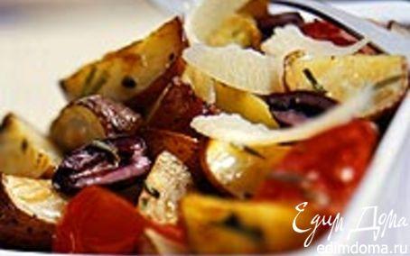 Рецепт Картофель запечёный с помидорами и розмарином