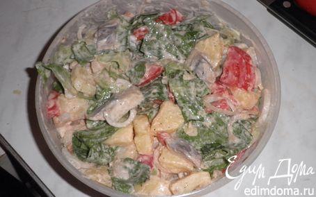 Рецепт Салат с сельдью и сметаной