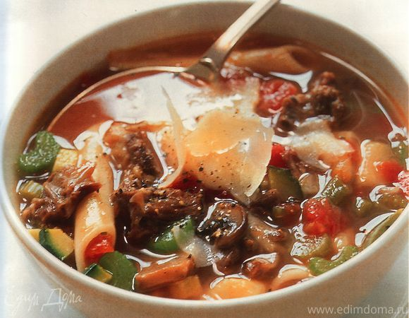 Страусовый суп с овощами по-милански