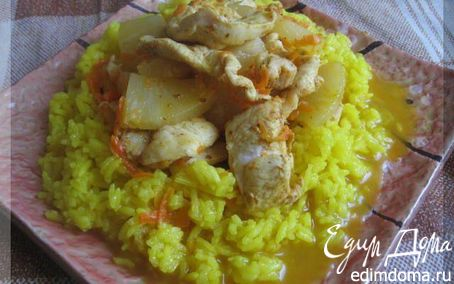Рецепт Курица с ананасами и рисом
