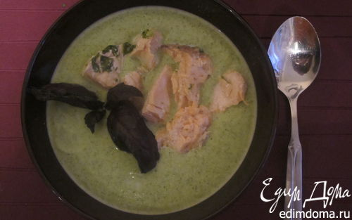 Рецепт Суп-пюре из броколи, семги и руколы