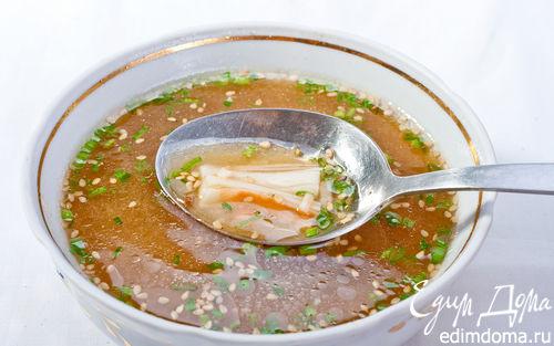 """Рецепт """"Японский суп"""" с палочками с мясом краба"""