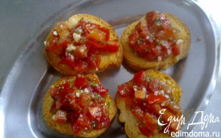 "Рецепт Закуска ""Сухари с помидорами"""