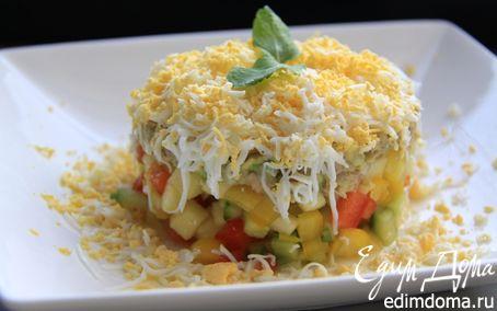 Рецепт Овощной салат с тунцом, яйцом и авокадо! 301 ккал в 1 порции:-)