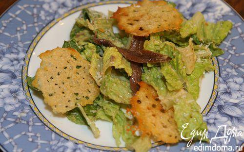 Рецепт Салат «Цезарь» с чипсами из пармезана