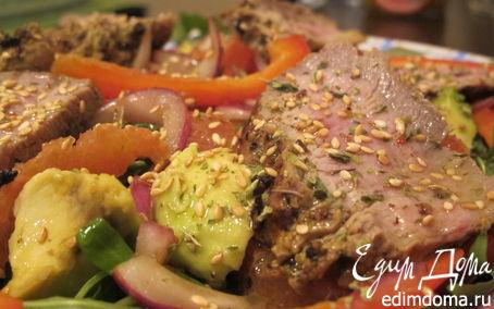 Рецепт Салат из руколы, говядины и красных апельсин
