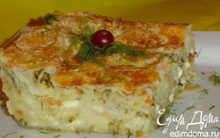 Рецепт Пирог из лаваша с сыром, творогом и зеленью