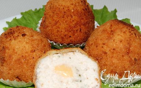 Рецепт Шарики филейные с сырной начинкой в миндальной панировке