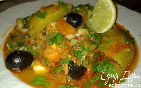 Рецепт Тажин из белой рыбы с картошкой, черри и оливками