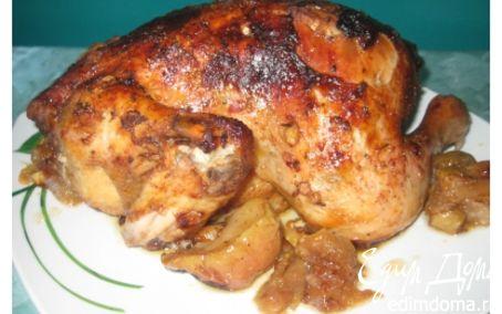 Рецепт Курица, запеченная с яблоками в фольге