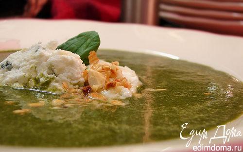 Рецепт Зеленый крем-суп с клецками из творога и сыра с плесенью