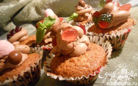 Рецепт Шоколадные капкейки с вяленой клюквой