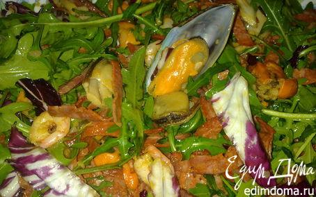 Рецепт Мидии и креветки с чоризо