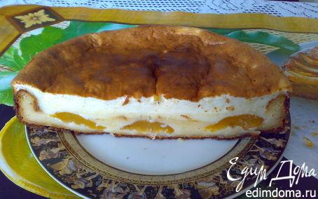 Рецепт Творожной пирог с консервированными персиками
