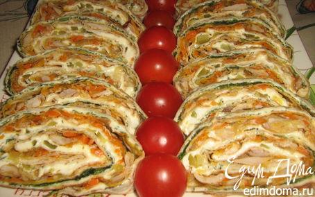 Рецепт Рулет из лаваша с курицей,сыром и овощами